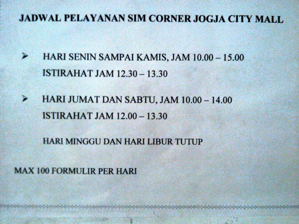 jadwal SIM Corner JOGJA CITY MALL