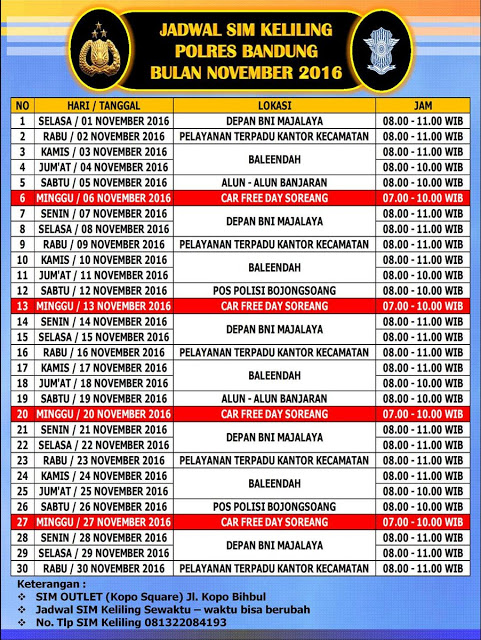 Jadwal SIM Keliling Bandung November 2016