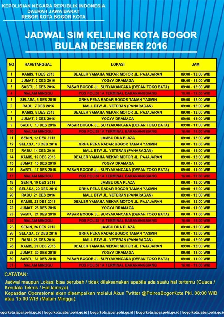 Jadwal SIM Keliling Polres Kota Bogor Kota Desember 2016