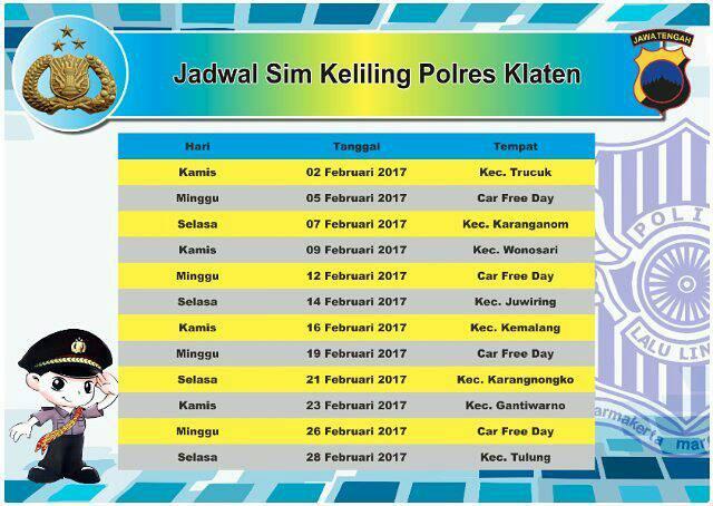 Jadwal SIM Keliling Klaten Februari 2017