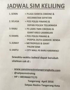 Jadwal SIM Keliling Polres Kota Tangerang