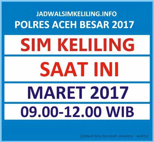 Jadwal SIM Keliling Aceh Besar Maret 2017