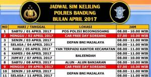 Jadwal Layanan SIM Keliling Polres Bandung Bulan Juli 2017