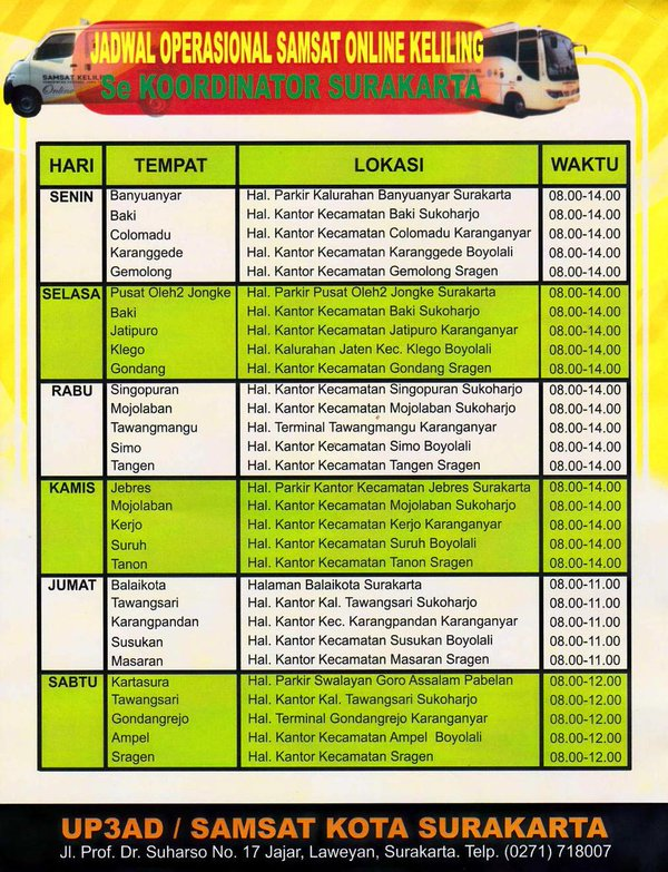 Jadwal SAMSAT Keliling Surakarta Agustus 2019