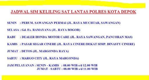 Jadwal SIM Keliling Kota Depok Mei 2017