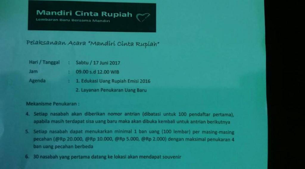 Jadwal Mobil Penukaran Uang Keliling Bank Mandiri Yogyakarta