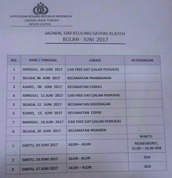 Jadwal SIM Keliling Klaten Oktober  2021