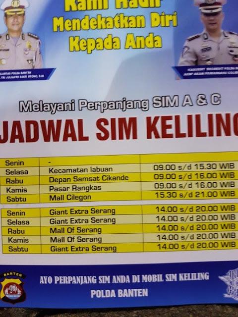 Jadwal SIM Keliling Serang Banten April 2017