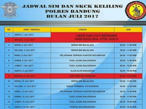 Jadwal Layanan SIM Keliling Polres Bandung Bulan November 2017